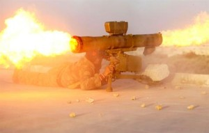 Fighter of Tawhid Brigade Fires Anti-Tank Missile in Aleppo
