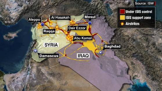 Map of First US Coalition Airstrikes in Syria