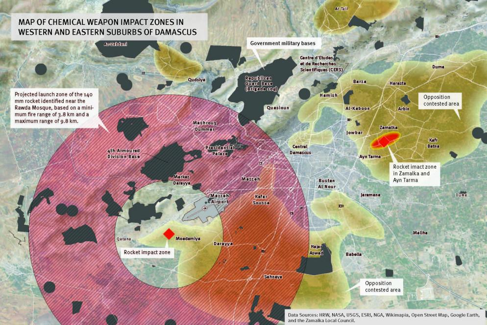 HRW map showing the likely source of CW-carrying rockets fired on Ghouta areas